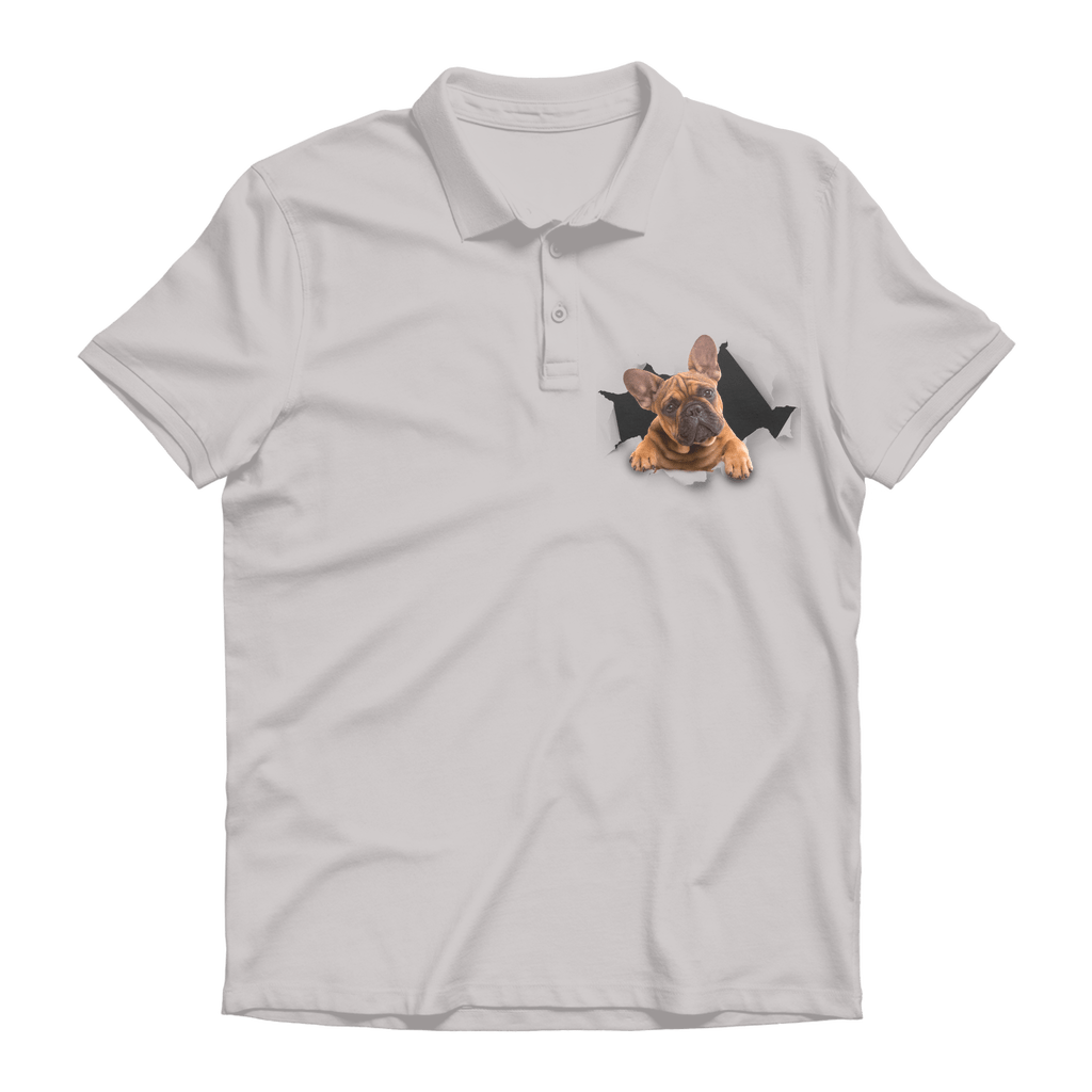 alloverprint.it Apparel Heather Grey / Unisex / S Peeking Frenchie Premium Adult Polo Shirt