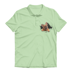 alloverprint.it Apparel Kiwi / Unisex / S Peeking Frenchie Premium Adult Polo Shirt