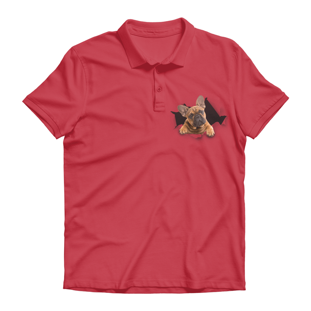 alloverprint.it Apparel Red / Unisex / S Peeking Frenchie Premium Adult Polo Shirt
