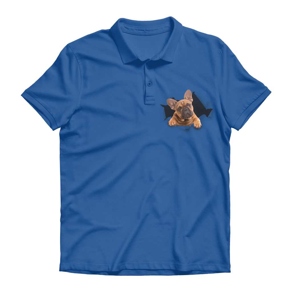 alloverprint.it Apparel Royal Blue / Unisex / S Peeking Frenchie Premium Adult Polo Shirt