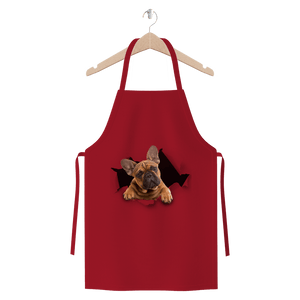 alloverprint.it Apparel Burgundy Peeking Frenchie Premium Jersey Apron