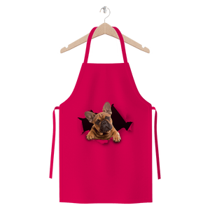 alloverprint.it Apparel Hot Pink Peeking Frenchie Premium Jersey Apron