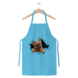 alloverprint.it Apparel Light Blue Peeking Frenchie Premium Jersey Apron