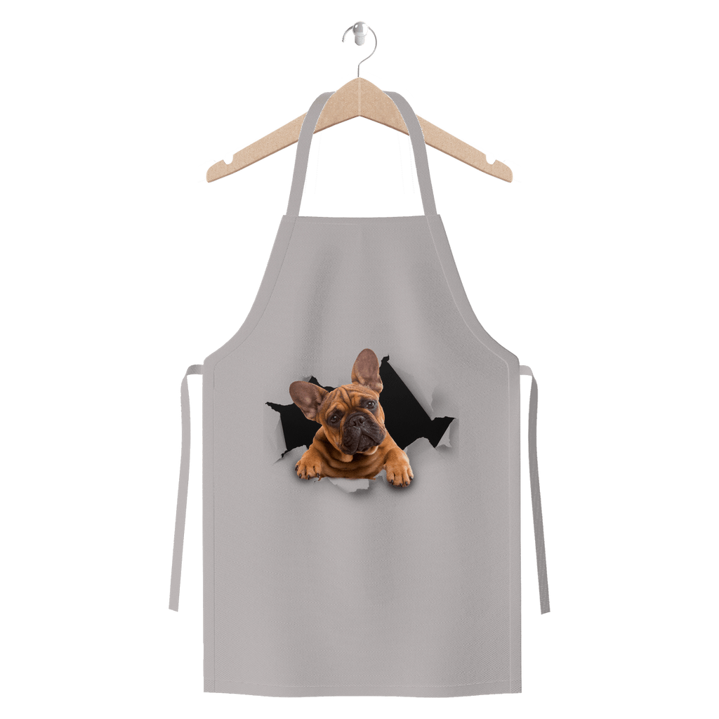 alloverprint.it Apparel Light Grey Peeking Frenchie Premium Jersey Apron