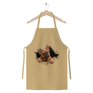 alloverprint.it Apparel Natural Peeking Frenchie Premium Jersey Apron