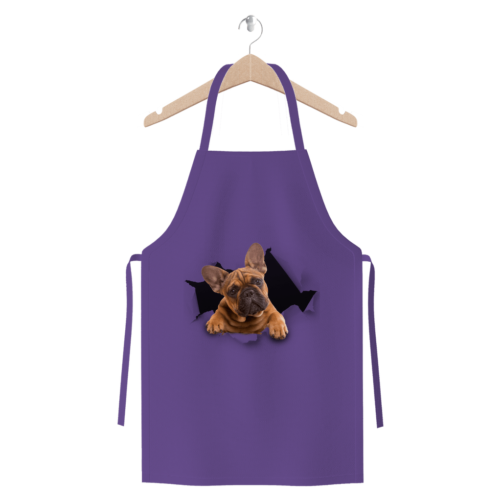 alloverprint.it Apparel Purple Peeking Frenchie Premium Jersey Apron