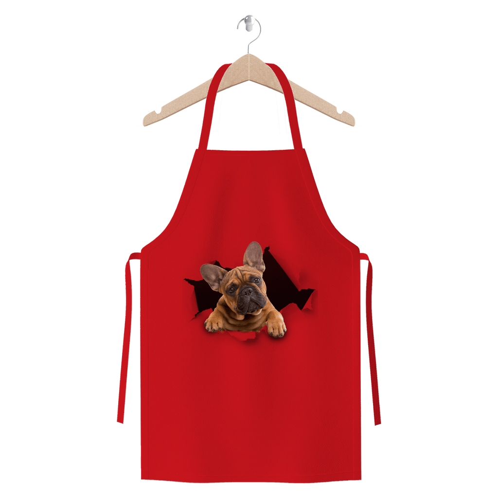 alloverprint.it Apparel Red Peeking Frenchie Premium Jersey Apron