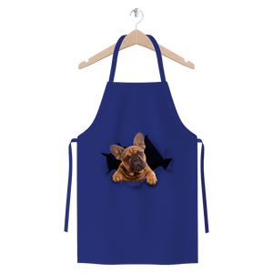 alloverprint.it Apparel Royal Blue Peeking Frenchie Premium Jersey Apron