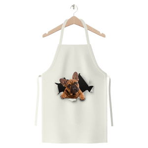 alloverprint.it Apparel White Peeking Frenchie Premium Jersey Apron