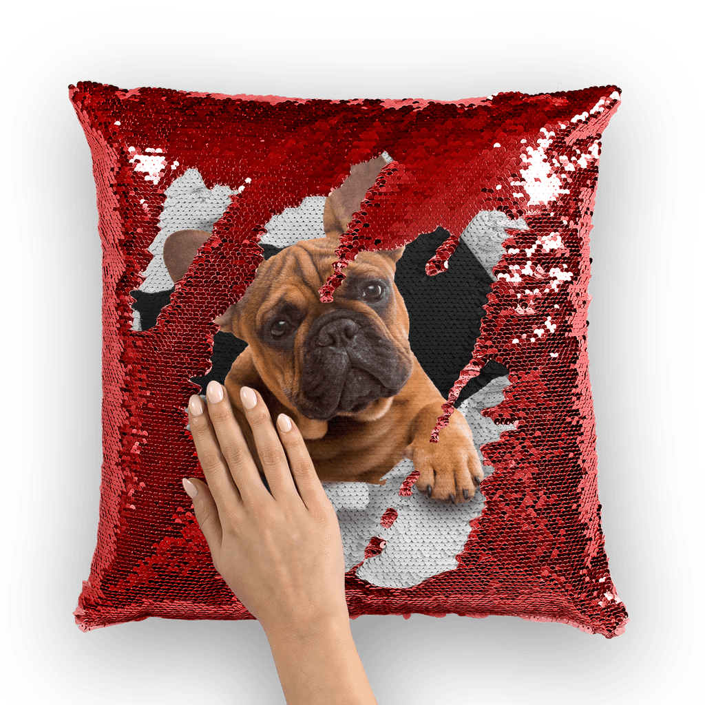 alloverprint.it Homeware Red / White Peeking Frenchie Sequin Cushion Cover
