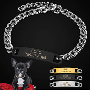 Frenchie World Shop Pet Dog Chain Choke Collar Personalized DogTraining Collars Engraved Slip ID Collars Customerized For Small Dogs
