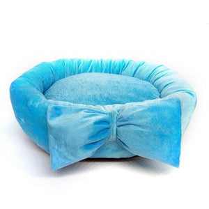 Frenchie World Shop Blue / diameter 45cm Pet Warm Winter Bow Dog Beds For Small Dogs Pets Bed Princess Cat Bed Detachable Breathable Cat's Nest Pet House Dogs Beds Nest