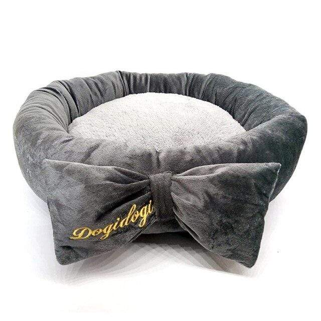 Frenchie World Shop Light Grey / diameter 45cm Pet Warm Winter Bow Dog Beds For Small Dogs Pets Bed Princess Cat Bed Detachable Breathable Cat's Nest Pet House Dogs Beds Nest