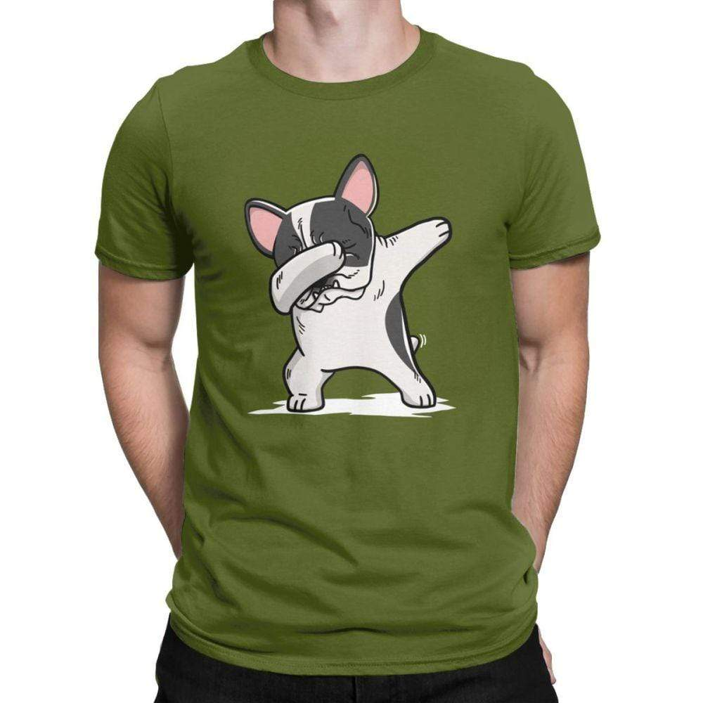 Frenchie World Shop Human clothing Army Green / XS Pied French Bulldog Dabbing t-shirt
