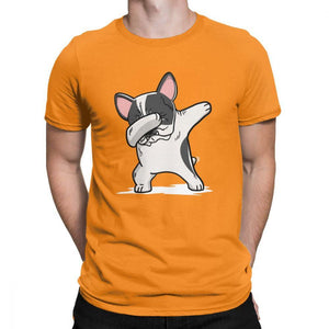 Frenchie World Shop Human clothing Orange / XS Pied French Bulldog Dabbing t-shirt