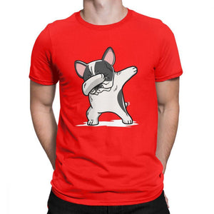Frenchie World Shop Human clothing Red / XS Pied French Bulldog Dabbing t-shirt