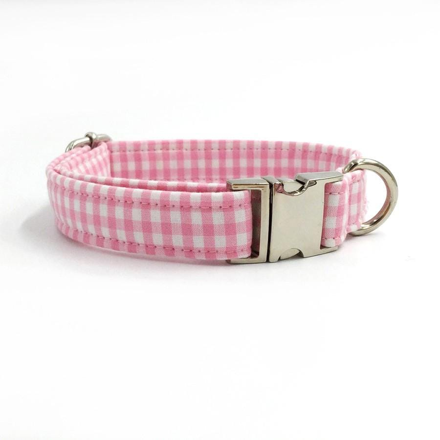 Frenchie World Shop Dog Accessories Pink and white dog collar, leash & bow tie