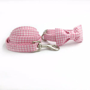 Frenchie World Shop Dog Accessories collar bowtie / S Pink and white dog collar, leash & bow tie