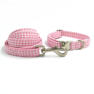 Frenchie World Shop Dog Accessories collar leash bow / S Pink and white dog collar, leash & bow tie