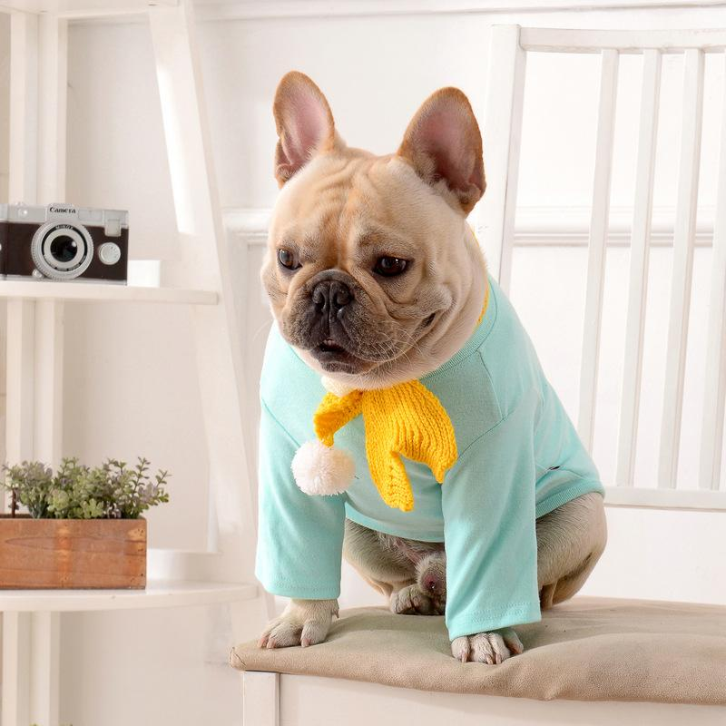 Frenchie World Shop Preppy Dog Shirt With Scarf
