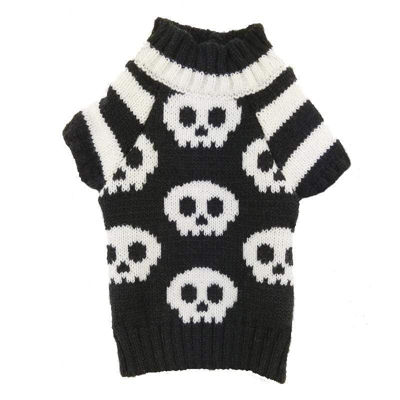 Frenchie World Shop black and white / L Skulls Dog Knitted Sweater