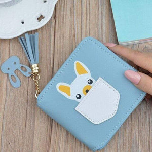 Frenchie World Shop Blue Small French Bulldog Wallet Purse