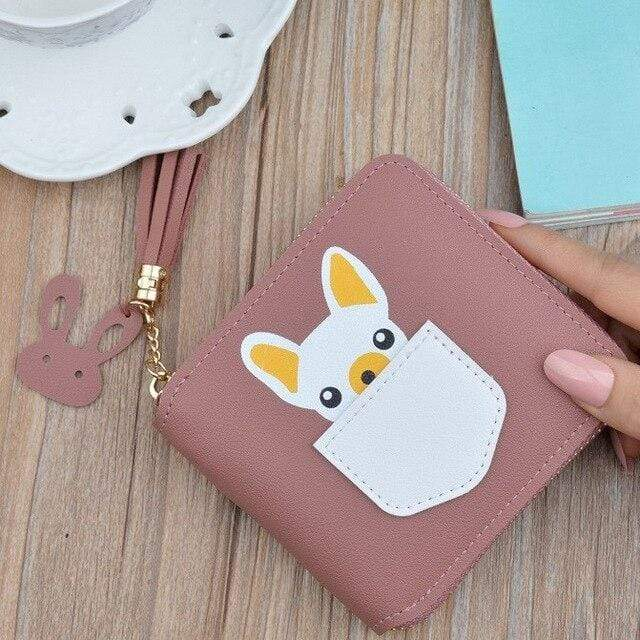 Frenchie World Shop Dark Pink Small French Bulldog Wallet Purse