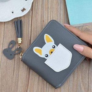 Frenchie World Shop Gray Small French Bulldog Wallet Purse