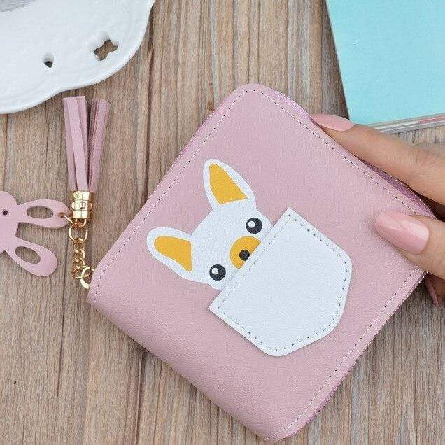 Frenchie World Shop light Pink Small French Bulldog Wallet Purse