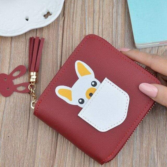 Frenchie World Shop Red Small French Bulldog Wallet Purse