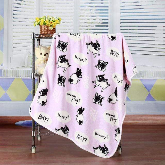 Frenchie World Shop pink / 100x75cm Soft French Bulldog blanket