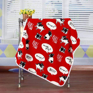 Frenchie World Shop red / 100x75cm Soft French Bulldog blanket
