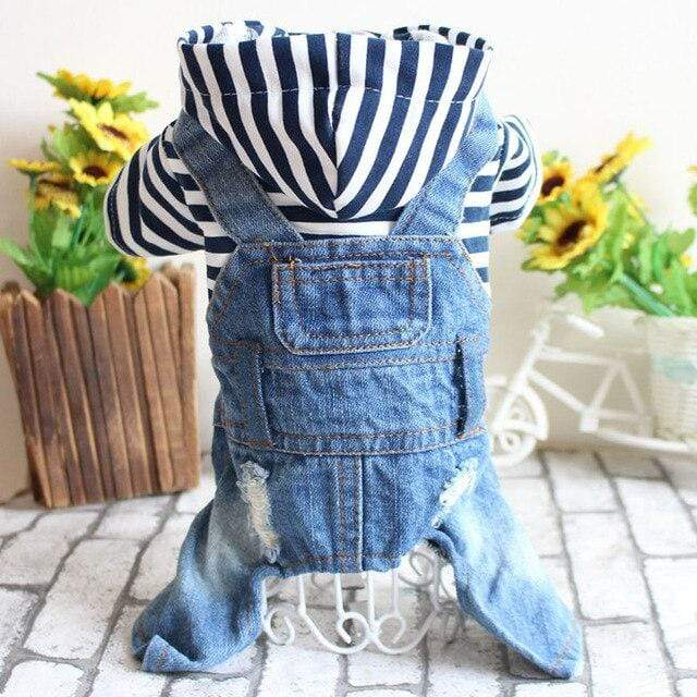 Frenchie World Shop Dog Clothing blue stripe / XL Spring striped / plaid jumpsuit
