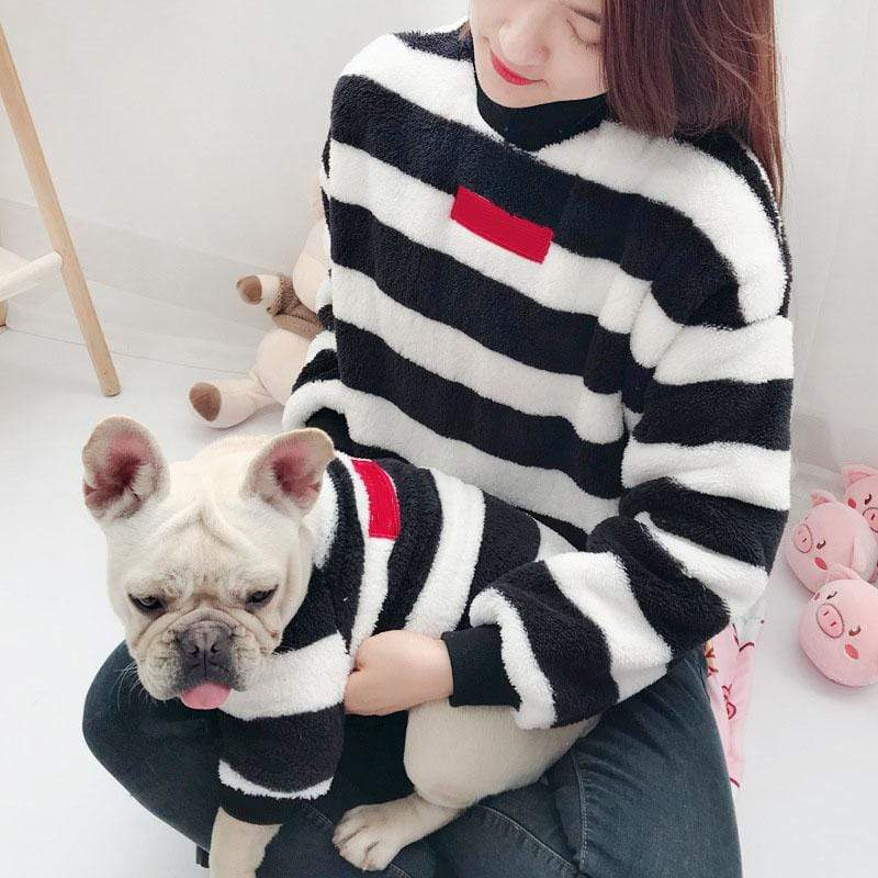 Frenchie World Shop Striped Fuzzy Matching French Bulldog Sweater