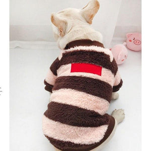 Frenchie World Shop Pink / 3XL for Pet Striped Fuzzy Matching French Bulldog Sweater