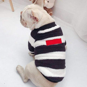 Frenchie World Shop White / 3XL for Pet Striped Fuzzy Matching French Bulldog Sweater