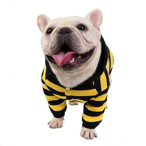 Frenchie World Shop Striped Hooded Dog Shirt by Frenchie World