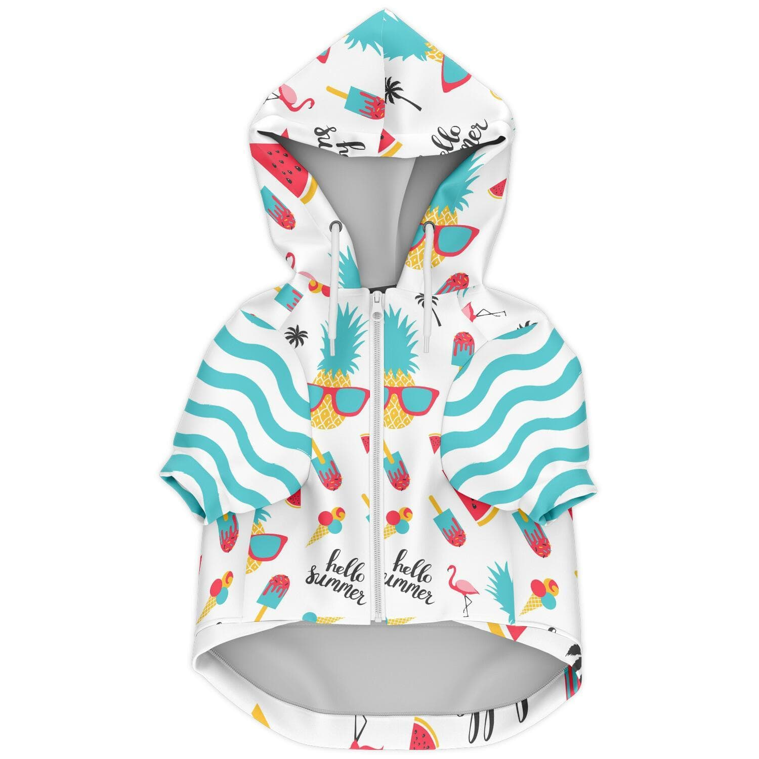 Subliminator Athletic Dog Zip-Up Hoodie - AOP XXS Summer French Bulldog Hoodie