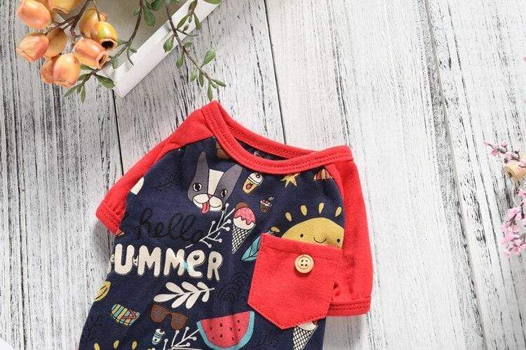 Frenchie World Shop Summer Fruit Short Sleeve Pajama