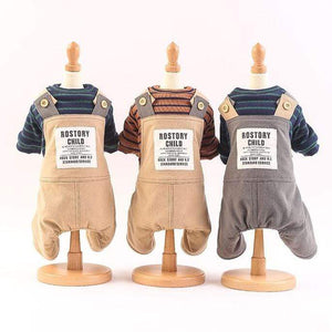Frenchie World Shop Suspender Pants With Striped Tee