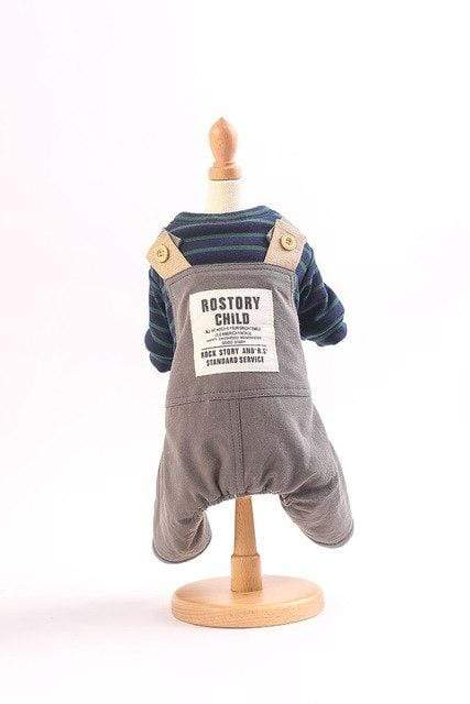 Frenchie World Shop Gray / S Suspender Pants With Striped Tee