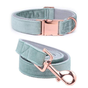 Frenchie World Shop Unique Style Paws Christmas Designer Blue Velvet Adjustable Dog Collars and Leash Gold Buckle