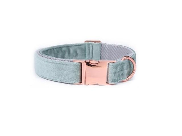Frenchie World Shop collar / XS Unique Style Paws Christmas Designer Blue Velvet Adjustable Dog Collars and Leash Gold Buckle