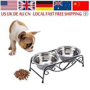 Frenchie World Shop Universal Stainless Steel Dog Bowl Double Drinking Bowls Cat Dog Puppy Pet Water Food Feeder Dish Bowls Stand Gamelle Chat