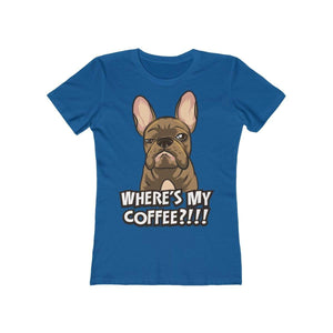 Printify T-Shirt Solid Cool Blue / S Where's My Coffee Women's Tee