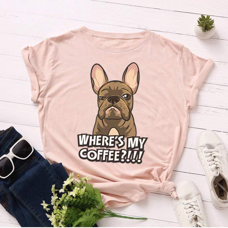 Printify T-Shirt Solid Light Pink / S Where's My Coffee Women's Tee
