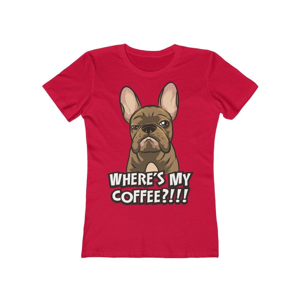 Printify T-Shirt Solid Red / S Where's My Coffee Women's Tee