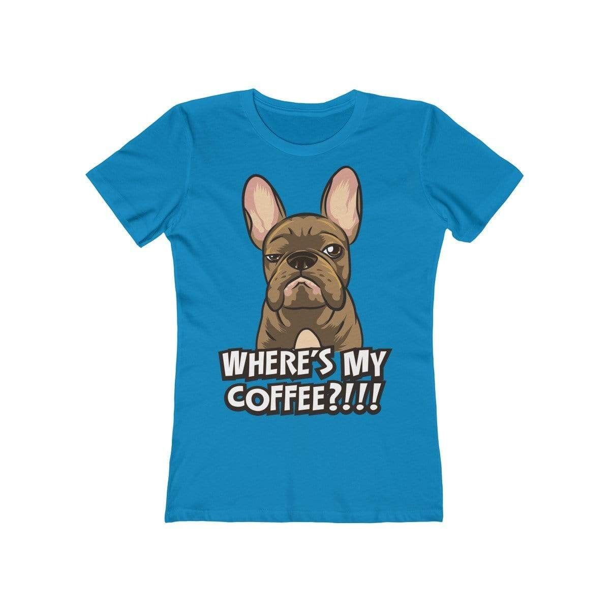 Printify T-Shirt Solid Turquoise / S Where's My Coffee Women's Tee