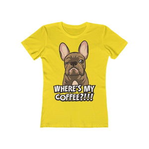 Printify T-Shirt Solid Vibrant Yellow / S Where's My Coffee Women's Tee