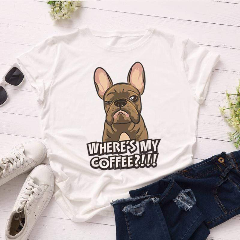 Printify T-Shirt Solid White / L Where's My Coffee Women's Tee
